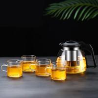 禾艾苏玻璃茶壶大容量耐热玻璃花茶壶功夫泡茶壶泡茶器不锈钢过滤冲茶器茶壶家用茶具 1000ml茶壶+4个150ml茶杯 *9件