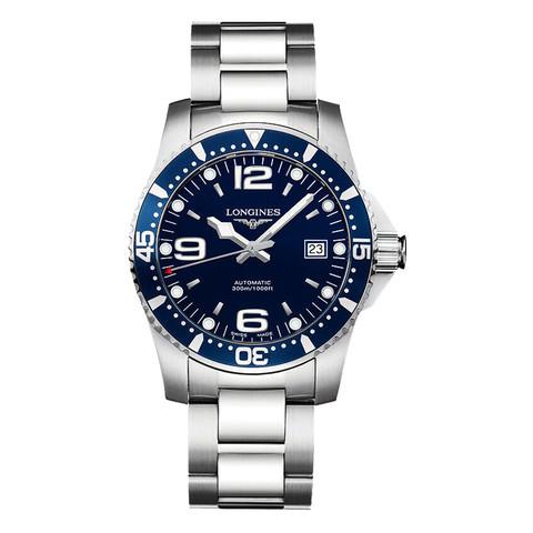 LONGINES 浪琴 康卡斯系列 L3.742.4.96.6 男士机械手表 41mm 蓝盘 银色精钢表带 圆形