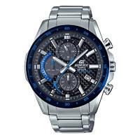 CASIO 卡西欧 EDIFICE艾迪斐斯系列 EQS-900DB-2A 男士太阳能手表 47.6mm 黑盘 银色不锈钢表带 圆形