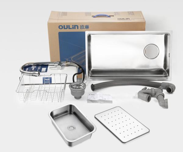 OULIN 欧琳 WGV9102 不锈钢水槽配精铜抽拉龙头套餐