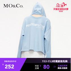 双十一预售MOCO2019春季新款镂空宽松慵懒风连帽套头卫衣女摩安珂