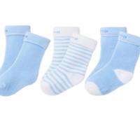 Bornbay 贝贝怡 204P2299 婴儿保暖棉袜子三双装 淡蓝 0-3个月