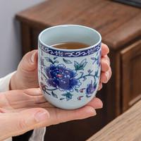 研艺 德化青花瓷直身杯(牡丹)160ml