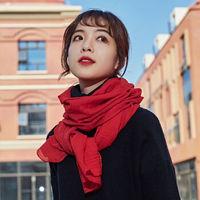 秋天冬季纯色保暖丝巾