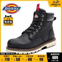 Dickies黑色马丁靴男冬季新款高帮鞋男士潮流真皮大头鞋子工装鞋 *2件