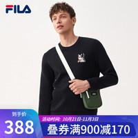 FILA 斐乐官方男子运动套头卫衣时尚圆领休闲2020年秋季冬季新款 正黑色-BK 175/96A/L *2件