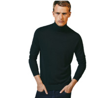 Massimo Dutti 男士纯色棉质山羊绒高领休闲针织衫0932324 黑色S