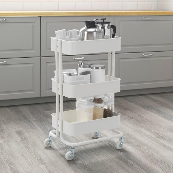 IKEA 宜家 拉斯克手推车 白色 35x45x78cm
