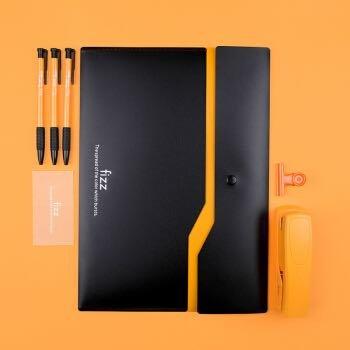 飞兹(fizz)加厚双层按扣文件袋/彩色档案袋资料袋/办公用品 橙色FZ103002 *5件