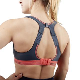 英国SHOCK ABSORBER高强度运动防震内衣女士专业无钢圈聚拢透气排汗运动文胸跑步瑜伽健身背心 灰霓虹 80/36B
