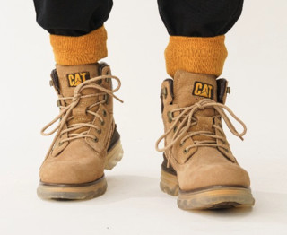 CAT 卡特 男士牛皮革时尚休闲高筒靴P723492I3BDC09 黄色43