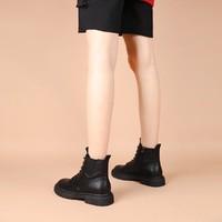 拉夏贝尔20新款透气马丁靴女短筒百搭女靴短靴工装靴靴子女鞋