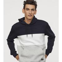 双11预售 : H&M 0679525 男士拼色加绒卫衣