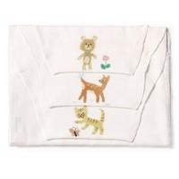 全棉时代 (小熊和小花 小鹿和小鸟 小猫扑蝴蝶)纱布汗巾25x50cm3条/袋