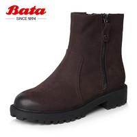 Bata拔佳冬新款专柜同款牛皮革女靴短靴2BC01DZ8绒里