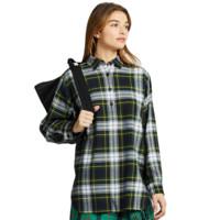 UNIQLO 优衣库 女士法兰绒格子长袖衬衫422068 墨绿色M