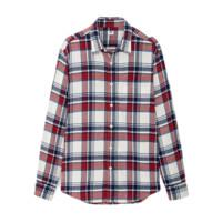 UNIQLO 优衣库 男士法兰绒格子长袖衬衫UQ421197000 乳白色S