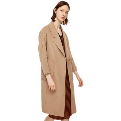 URBAN REVIVO 女士纯色翻领长袖羊毛大衣WG45R1GN2002K0 卡其M