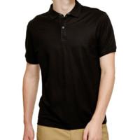 URBAN REVIVO 男士纯色翻领短袖T恤MF22R4FN2001B6 正黑S