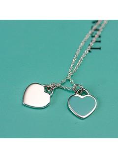 Tiffany&Co. 蒂芙尼 27125107 蓝色珐琅双心S925银项链