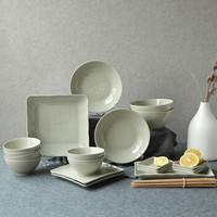 顺祥 碗 碗碟套装 简约北欧饭碗面碗餐盘带筷子陶瓷碗家用送礼餐具 米罗 灰绿色26头