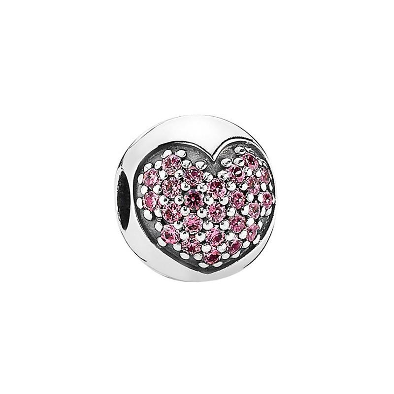 PANDORA 潘多拉 791053CZS 粉色心形密镶925银固定夹