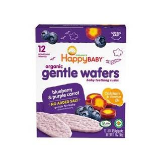 HAPPYBABY 禧贝 婴儿零食有机温和磨牙饼干 蓝莓胡萝卜味 48g *5件