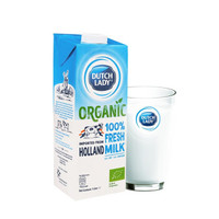 子母DutchLady荷兰原装进口有机全脂纯牛奶1L*12  早餐营养 皇家高钙 *3件