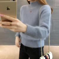 新款毛衣女加厚 浅蓝色 不加绒 S 建议85-95斤