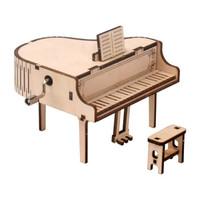 哦咯 手摇木制钢琴造型八音盒
