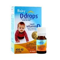 7日10点、历史低价 : ddrops 维生素D3滴剂婴幼儿400iu液体补钙2.5ml*4瓶