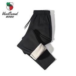 西域骆驼 加绒加厚羊羔绒运动裤