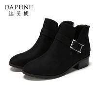 Daphne/达芙妮杜拉拉粗跟短靴女金属扣饰中跟靴子女1717505084-