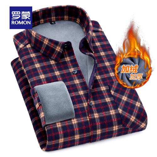 罗蒙(ROMON)加绒衬衫男2020冬季新款保暖衬衫中青年休闲格子厚款长袖衬衫