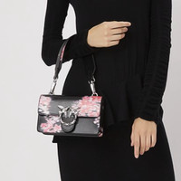 PINKO 品高 1P217C-Y516 牛皮黑色拼红色手提包
