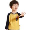 Jeanswest 真维斯 男童恐龙印花长袖T恤 姜黄+深兰 120cm
