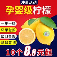 出口柠檬新鲜润宁四川安岳尤力克孕妇水果当季皮薄多汁10个装包邮