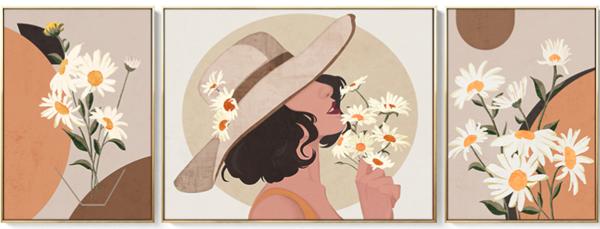 《雏菊与女孩》美女人物花卉画三联画客厅背景墙装饰画