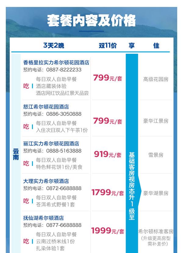 希尔顿酒店 大理/丽江/香格里拉/抚仙湖等 云贵7店 2晚套餐 (含早餐+下午茶/特色美食)