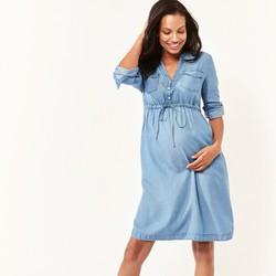Gap 盖璞 268946 孕妇装棉质舒适开领牛仔连衣裙