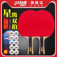 红双喜乒乓球拍双拍2只装一二三四星学生初学者儿童兵乓球单拍1只