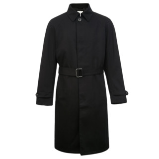 SELECTED 思莱德 男士简约翻领中长款风衣420321048 黑色XS