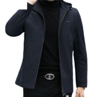 恒源祥 男士可拆卸连帽夹克外套HYX08812 深蓝色170/88A
