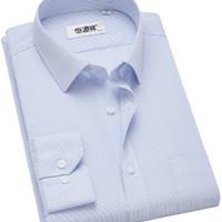 恒源祥 男士方领条纹长袖衬衫HW05073-20 蓝条