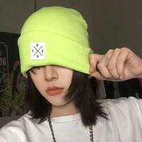 画蔻 百搭温暖针织帽 荧光绿