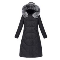 雅鹿冬季新款白鸭绒羽绒服女中长款加厚狐狸毛领妈妈装连帽外套X 灰色 L/165