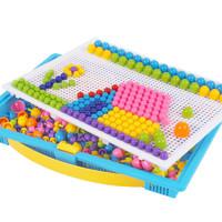 儿童蘑菇钉大号百变插板益智早教男孩2女孩3-6岁智力动脑拼图玩具