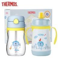 膳魔师 THERMOS 儿童不锈钢儿童保温杯塑料婴儿学饮杯鸭嘴杯吸管杯宝宝套装 +凑单品