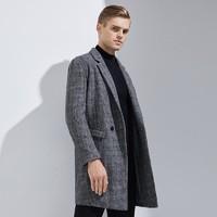 网易严选 100%羊毛 男式格纹毛呢大衣