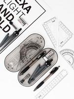 得力圆规8601尺子套装学生用多功能实用型绘图工具金属专业制图仪八件套初中生小学生文具直尺三角板套尺笔芯